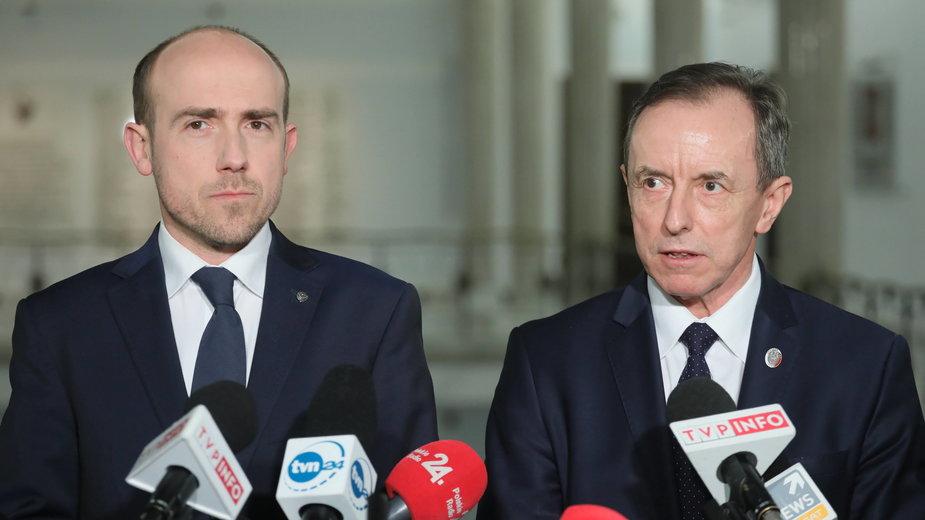 Od lewej: przewodniczący PO Borys Budka oraz marszałek Senatu Tomasz Grodzki