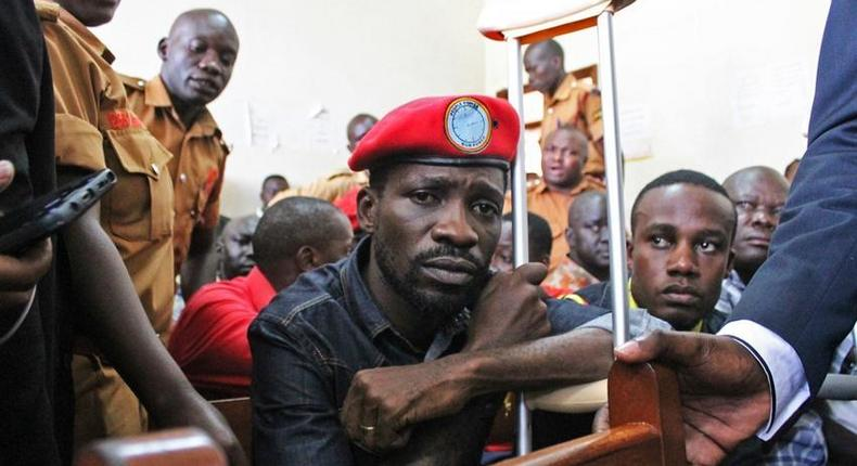 Bobi Wine in court during an earlier arrest. He was on Thursday arrested after landing at Entebbe Airport