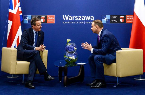 Prezydent RP Andrzej Duda oraz premier Wielkiej Brytanii David Cameron, PAP/Marcin Obara