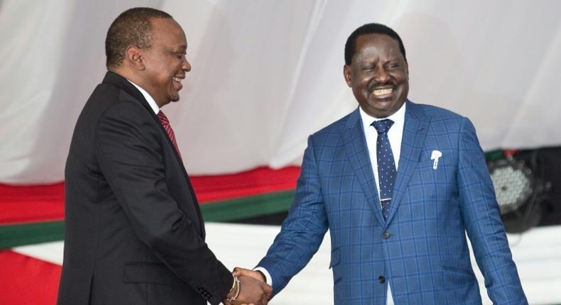 President Uhuru Kenyatta with former Prime Minister Raila Odinga