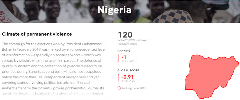 Nigeria scores 120 in the 2019 World Press Freedom Index (rsf)