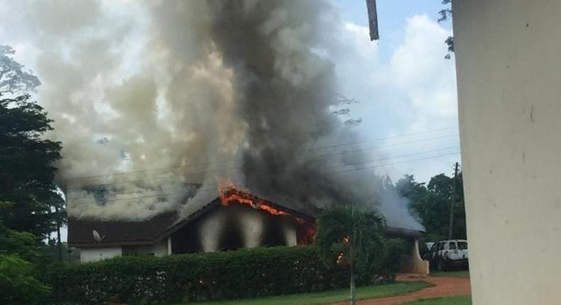 Properties of Ghana Bauxite Company on fire