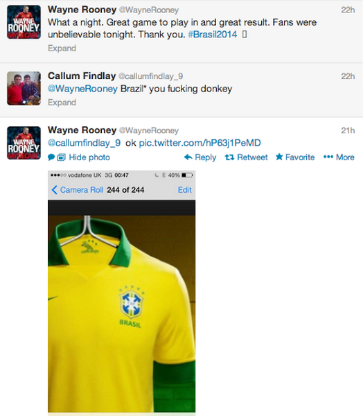 Konto Wayne'a Rooneya na Twitterze /Screen