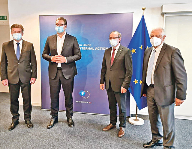 Lajčak, Vučić, Hoti i Borel u Briselu