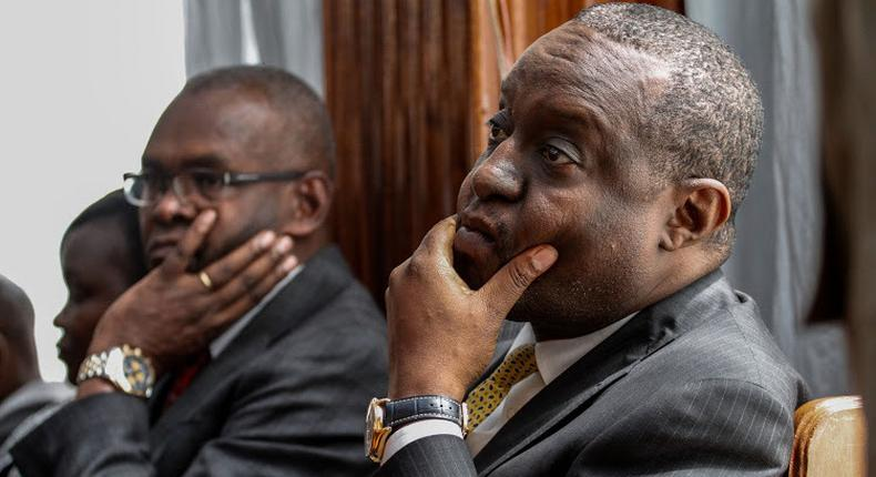 Former Treasury CS Henry Rotich and former PS Kamau Thugge during a past court appearance