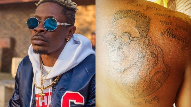 SM Fan tattoos Shatta Wale's face at his back