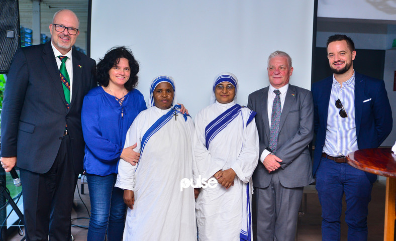L-R: SNBC Chairman, Jacques Piekarski; Mrs. Teuta Nicolet; a representative of Missionaries of Charity; Sister Lily of Missionaries of Charity; SNBC board members, Yves Nicolet, and Mark Slade