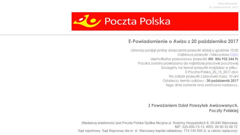 Przesyłka z Poczty Polskiej - uwaga na powrót starego przekrętu