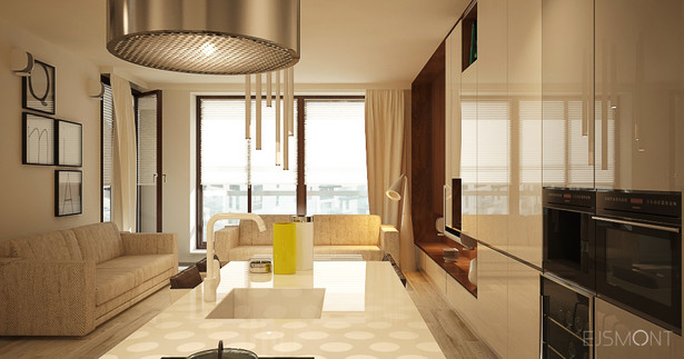 Apartament ciepłe drewno - projekt Ejsmont