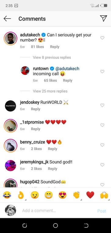 Runtown and Adut Akech's Instagram moment [Instagram/Runtown]
