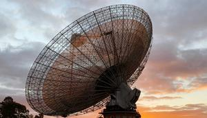 The radio telescope at the Parkes Observatory at sunset near the town of Parkes, Australia July 15, 2019.
