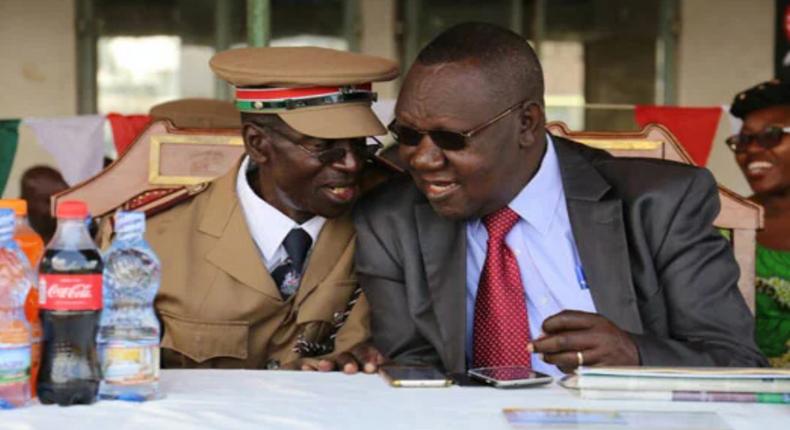 Former Nairobi City County Secretary Dr Robert Ayisi (right) with Starehe Sub County Administrator Celine Otieno (File Image).