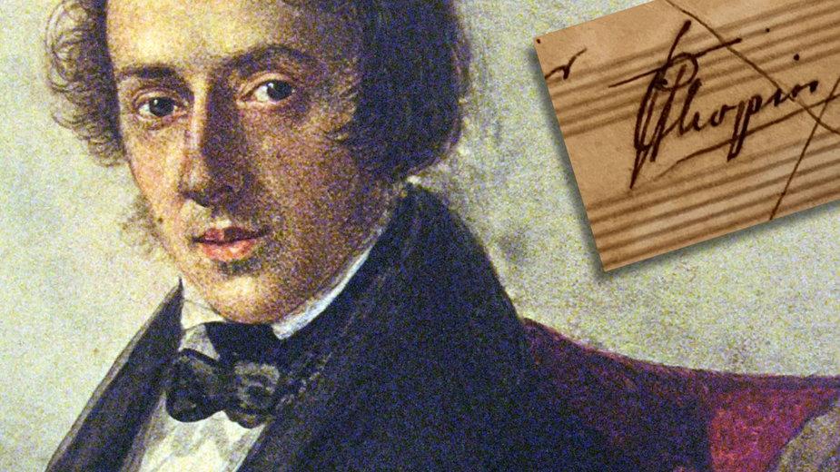 Fryderyk Chopin na obrazie Marii Wodzinskiej / podpis kompozytora (fot. uw.edu.pl)