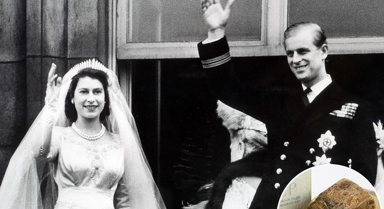 The historic wedding cake was made 68 years ago for the royal wedding of the then-Princess Elizabeth and Prince Philip at Buckingham Palace on November 20