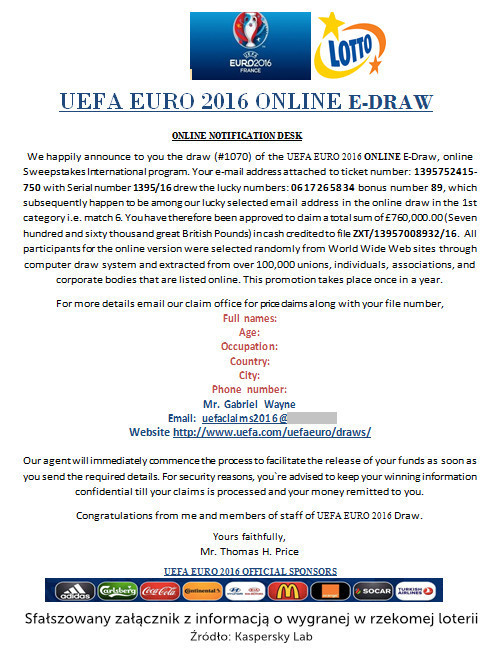 Euro 2016 - fałszywe załączniki
