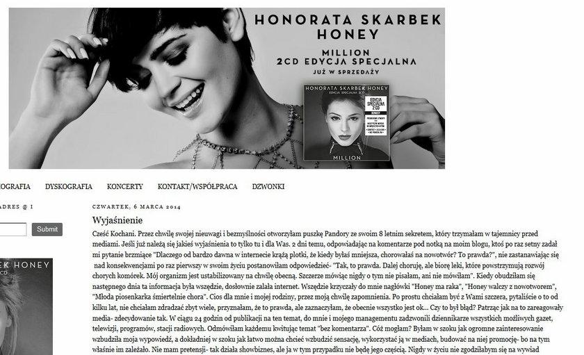 Honorata Skarbek, Honey, Blog
