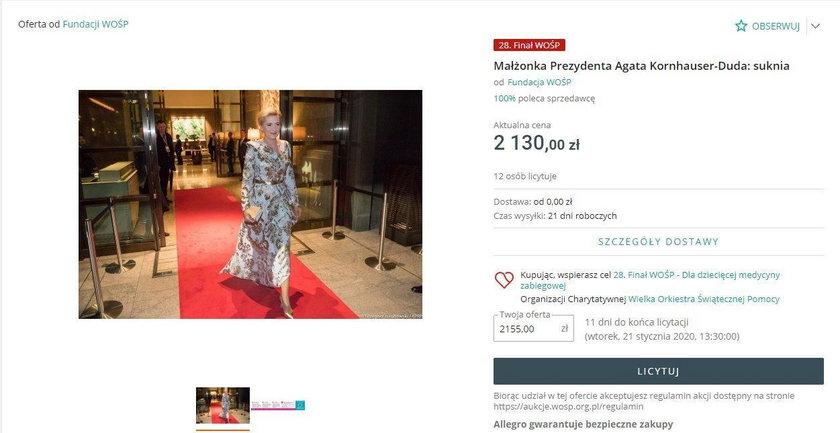 Wśród aukcji jest też suknia pierwszej damy