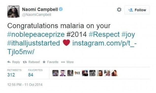 printscreen profilu Naomi Campbell / Twitter