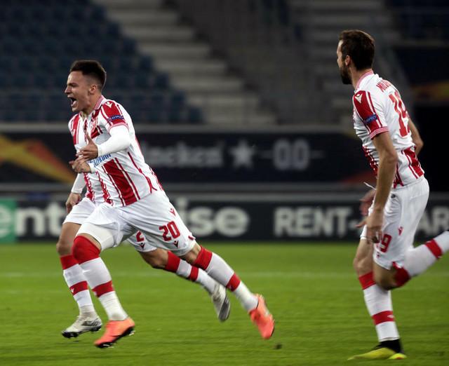 Njegoš Petrović slavi vodeći gol na meču Gent - FK Crvena zvezda