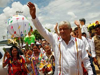Mexico's presidential front-runner Andres Manuel Lopez Obrador of MORENA greets supporters in Oaxaca