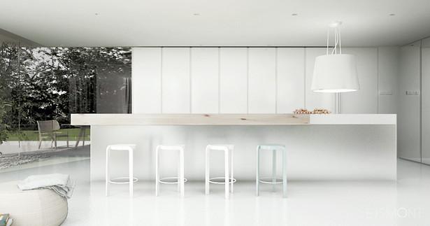 Minimalistyczna, biała strefa dzienna - projekt Ejsmont