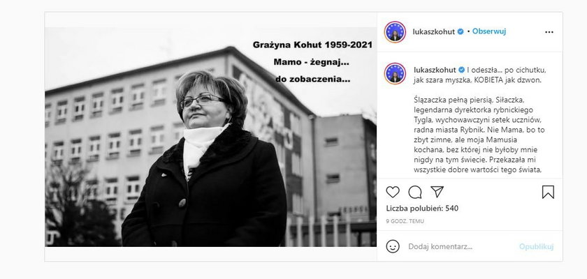 Grażyna Kohut nie żyje. Europoseł Łukasz Kohut w żegna ukochaną mamę