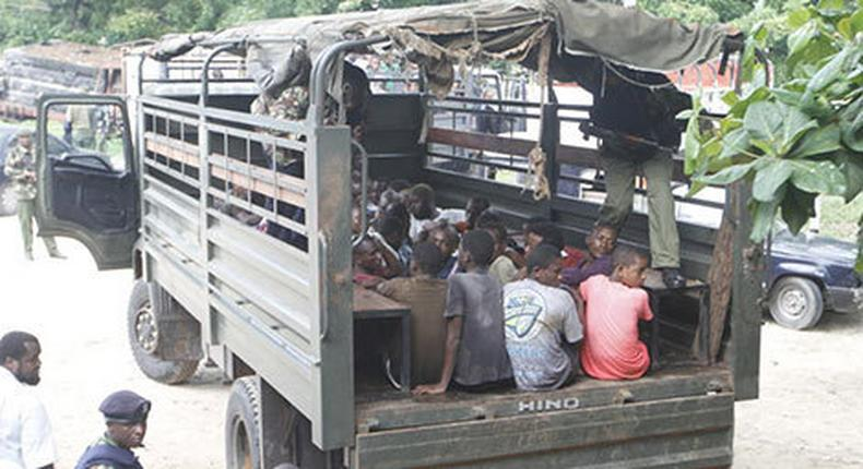Police at a past arrest in Kisauni