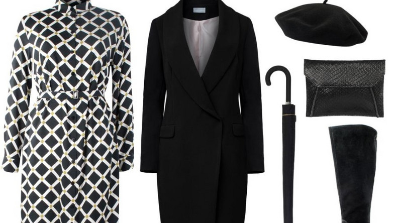 Sukienka – Bialcon/bialcon.pl, płaszcz – White House/whitehouse.sklep.pl, kopertówka – antbag by ania/antbags.pl, buty – Caprice/caprice.pl, parasol – Tkmaxx/tkmaxx.pl, beret – Tkmaxx/tkmaxx.pl,