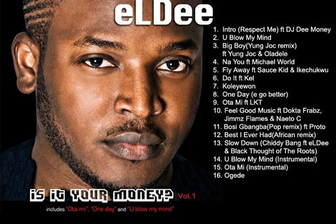 Cover art and tracklist for 'Is It Your Money' by eLDee. (Trybes)