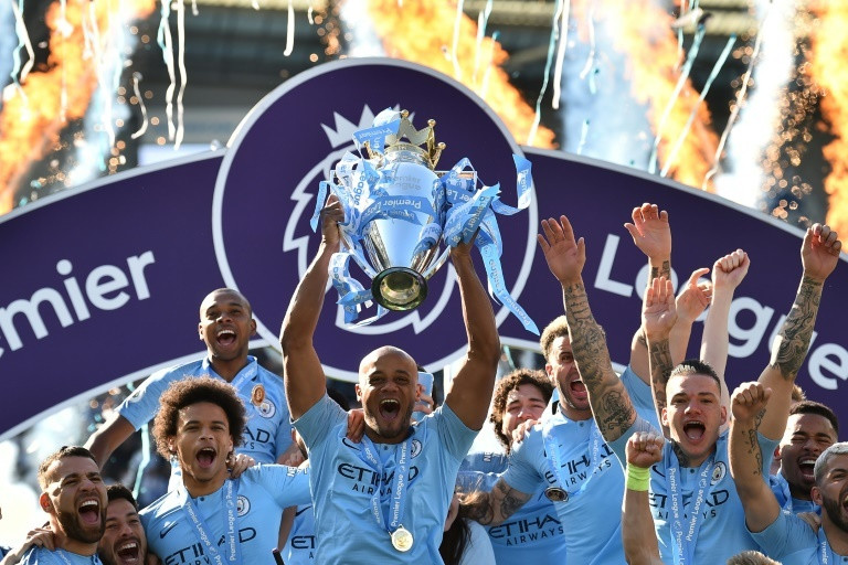 Manchester City celebrate their 2018/19 Premier League title triumph