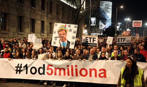 Održan protest '1 od 5 miliona', blokada ispred RTS-a