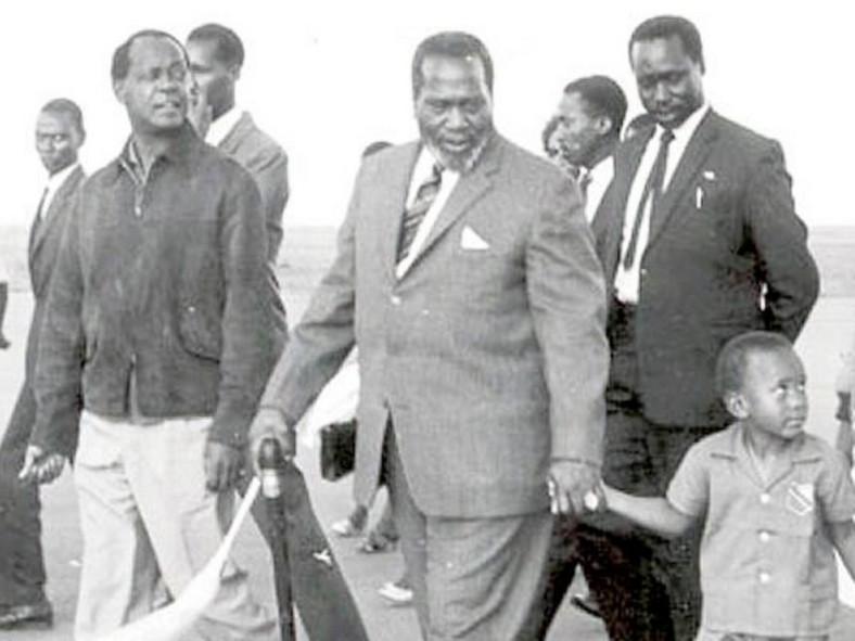 Founding father Mzee Jomo Kenyatta with then vice president Daniel Arap Moi & young Uhuru Kenyatta