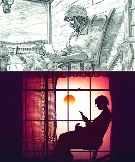 """Storibord za """"Boju purpura"""" i scena iz filma"""