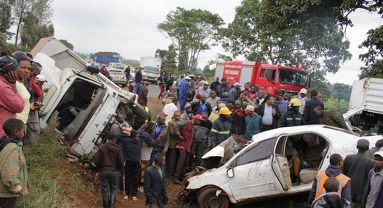 The scene of the accident at Wambugu Farm, along the Nyeri-Nairobi highway on July 3, 2013.