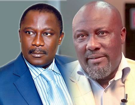 Smart Adeyemi (left) and Dino Melaye (right) have remained mortal political enemies for years, both swapping the same two platforms to run against each other for a coveted seat in the Nigerian Senate (The Sun)