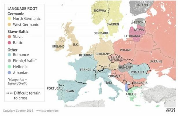Podziały kulturowe i geograficzne w Europie. Europa była przez dwa tysiąclecia polem bitwy różnych narodów i plemion, ale bariery geograficzne w istotny sposób ukształtowały podziały kulturowe. Jest to widoczne w rozkładzie różnych języków na Starym Kontynencie. MAPA: Różnymi kolorami oznaczono poszczególne grupy językowe w Europie. Czarne kropki na mapie oznaczają geograficznie trudy do przebycia teren. Źródło: Stratfor