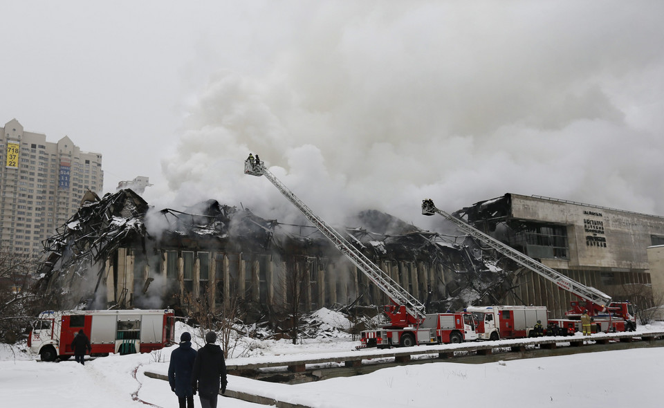 RUSSIA FIRE (A fire in the library of the Institute of Scientific Information on Social Sciences in Moscow.)