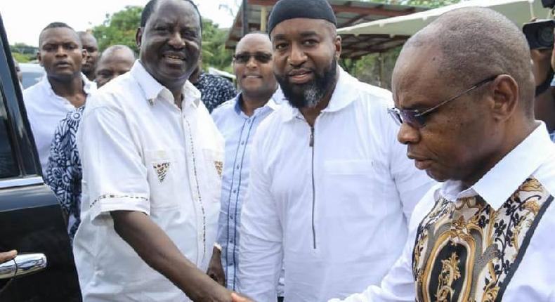 Raila Odinga with Governors Hassan Joho and Amason Kingi in Mombasa The Mombasa BBI rally set for January 25 will be held at Mama Ngina Waterfront Park not Tononoka Grounds as earlier stated