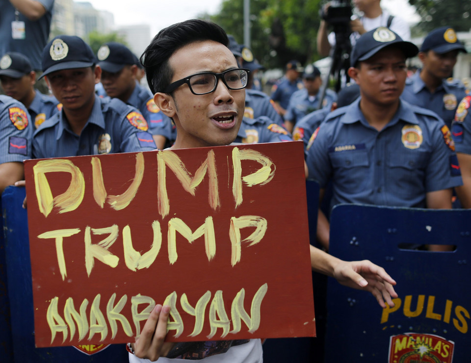 PHILIPPINES USA ELECTION PROTEST (Protest against Donald Trump in front of the US Embassy in Manila)