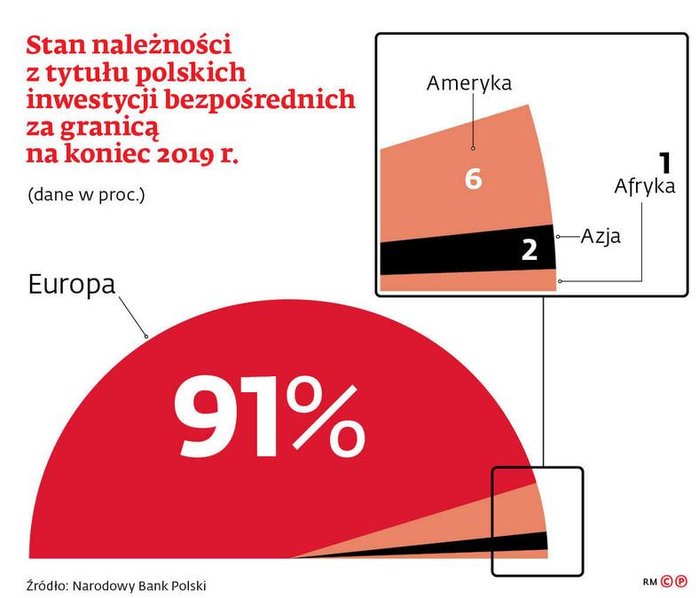 Stan należności z tytułu polskich inwestycji bezpośrednich za granicą na koniec 2019 r.