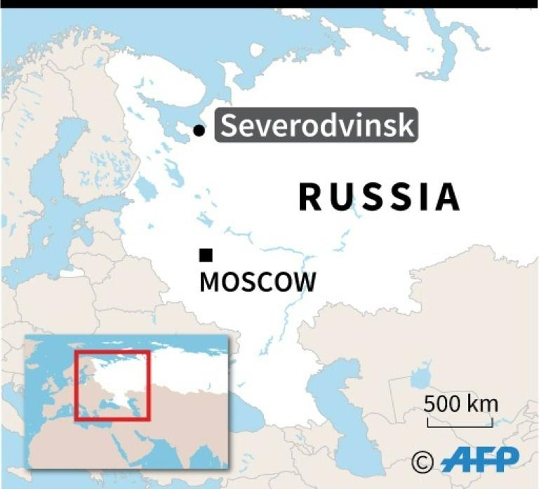 Map of Russia locating explosion in Severodvinsk.