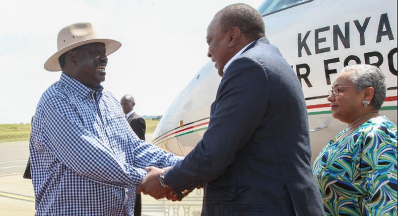 File image of Raila Odinga with President Uhuru Kenyatta