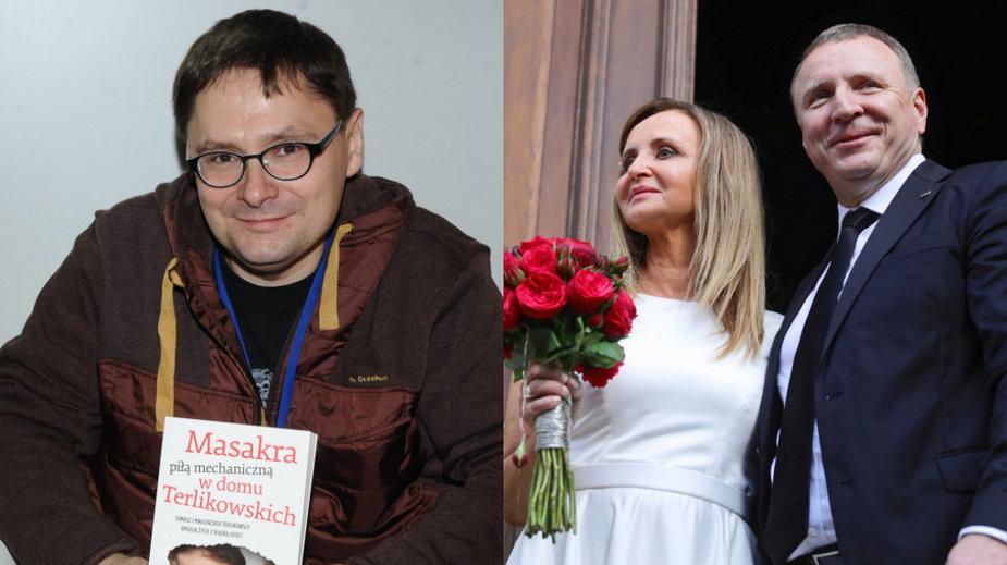 Tomasz Terlikowski i Joanna (Klimek) Kurska z Jackiem Kurskim (PAP, fot. ArtService)