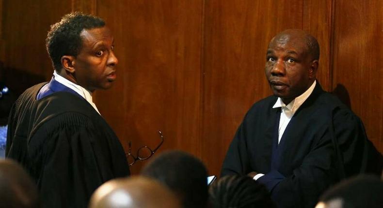 Lawyers Ahmednasir Abdulahi with lawyer Fred Ngatia when they represented President Uhuru Kenyatta at the Supreme Court