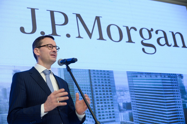 Wicepremier, minister rozwoju i finansów Mateusz Morawiecki podczas wspólnej konferencji prasowej Ministerstwa Rozwoju i JP Morgan.