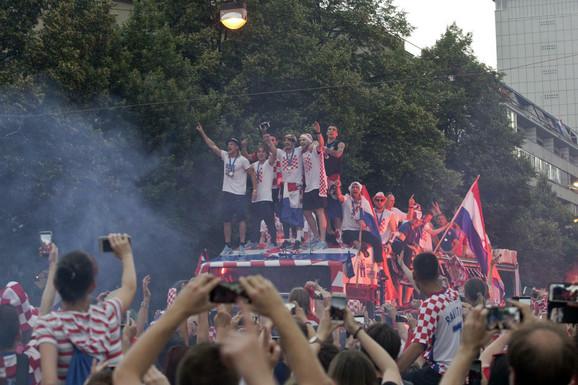 Fudbalska reprezentacija Hrvatske na dočeku u Zagebu