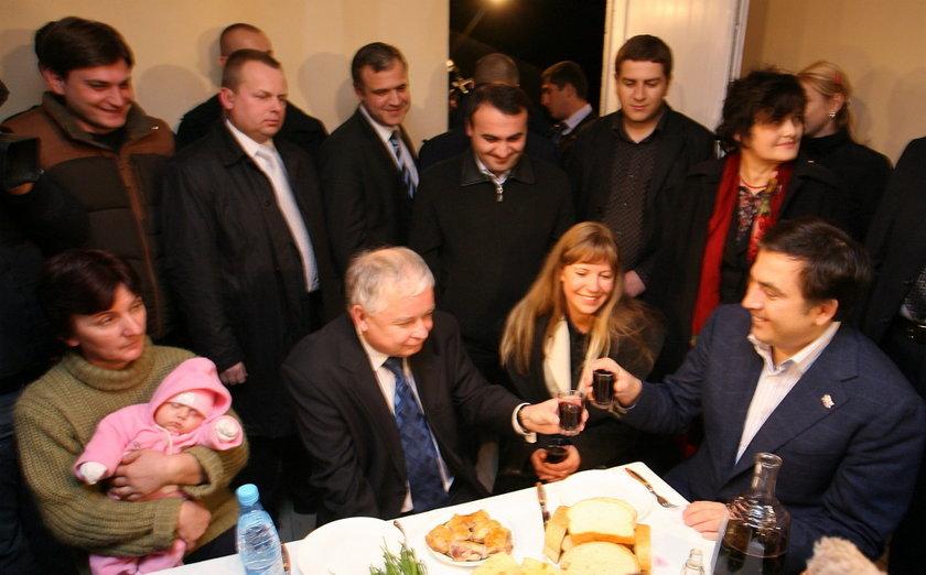 Lech Kaczyński z Micheilem Saakaszwilim
