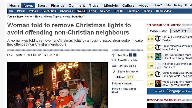Lampki świąteczne obrażają uczucia religijne?
