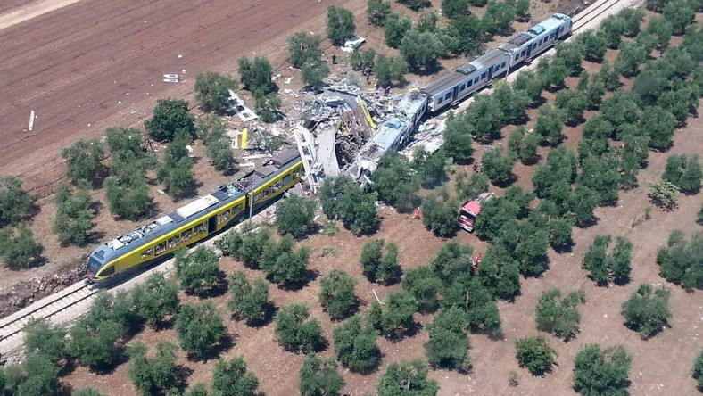 ITALY TRAIN CRASH (At least 10 dead as two trains collide in southern Italy)