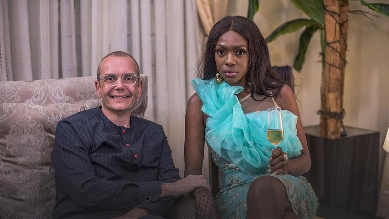 Judith Audu's husband, Morten Foght and Beverly Osu on the set of 'The Family.' [Judith Audu productions]